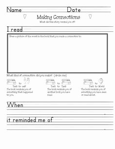 Text to Self Connections Worksheet Beautiful First Grade Text to Text and Text to Self Connections