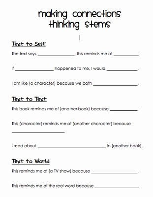 Text to Self Connections Worksheet Best Of 95 Best Images About Making Connections On Pinterest