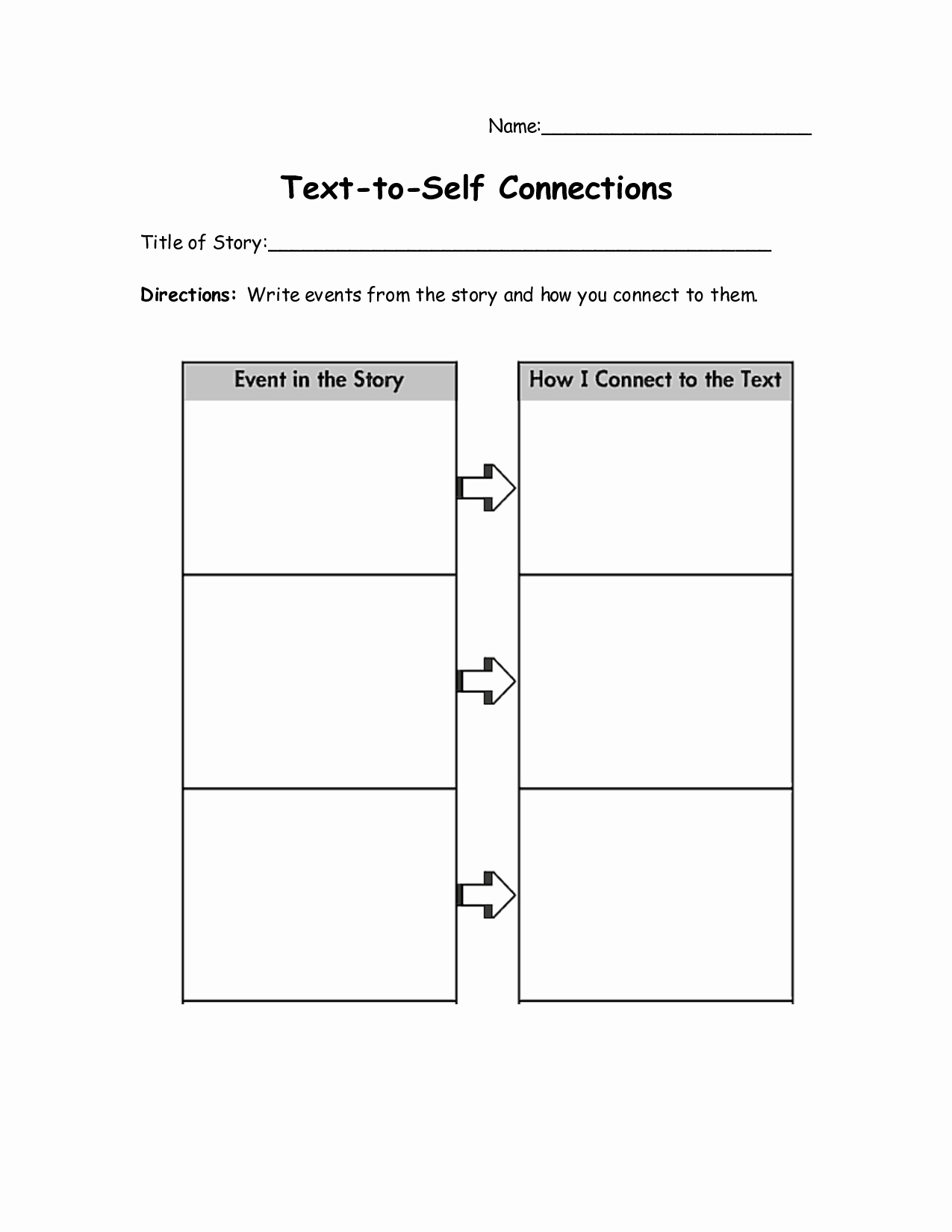 Text to Self Connections Worksheet Luxury Connect the Text Worksheets Education