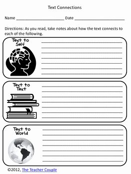 Text to Self Connections Worksheet New Text Connections Self Text and World by the Teacher