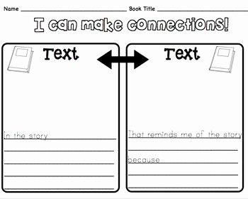 Text to Self Connections Worksheet Unique Text to Text Connections Sheet by Ms Knopf