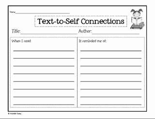 Text to Text Connections Worksheet Awesome Text to Self Connections