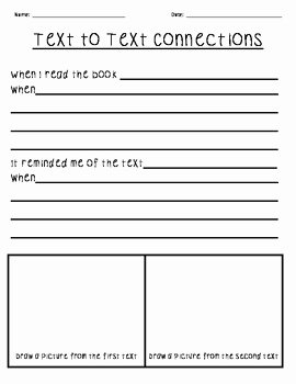 Text to Text Connections Worksheet Awesome Text to Text Connections Worksheet by Teaching Two