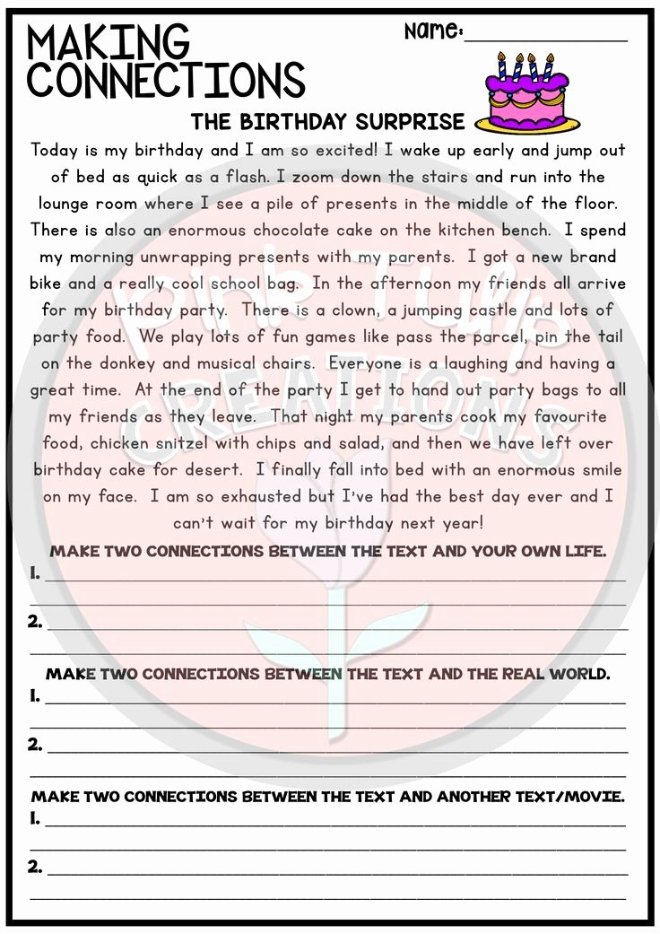 Text to Text Connections Worksheet Fresh Making Connections Reading Worksheet Pack