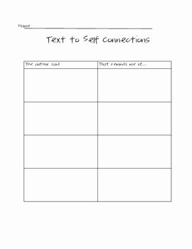 Text to Text Connections Worksheet Fresh Text to Self Connection Worksheet by Room Six Rocks