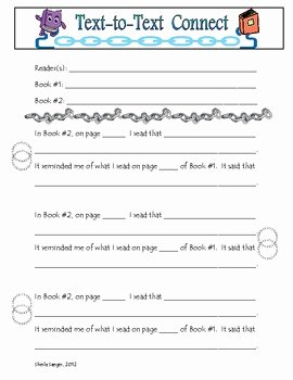 Text to Text Connections Worksheet Fresh Text to Text Connections Worksheet by Tall Poppies