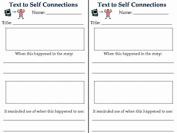 Text to Text Connections Worksheet New Text to Self Connections Response Sheet by Lisa Mcandrews