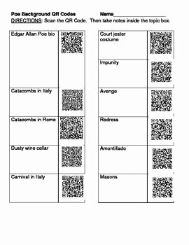 "The Cask Of Amontillado Worksheet Awesome ""the Cask Of Amontillado"" Qr Codes Background Worksheet"