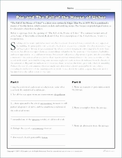 The Cask Of Amontillado Worksheet Luxury the Cask Amontillado Vocabulary Worksheet Answers