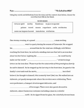 The Cask Of Amontillado Worksheet New Vocabulary Worksheet for the Cask Amontillado