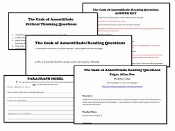 The Cask Of Amontillado Worksheet Unique the Cask Of Amontillado Activities Bundle Edgar Allan Poe