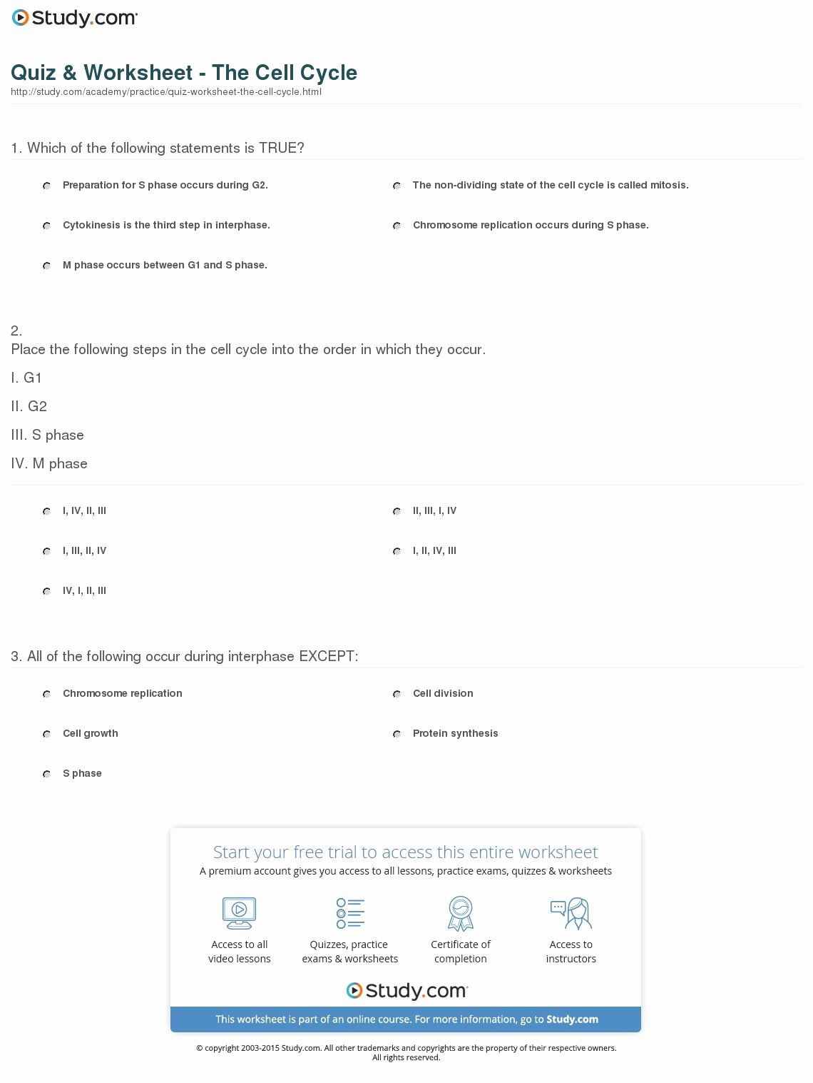 The Cell Cycle Worksheet Luxury Quiz & Worksheet the Cell Cycle