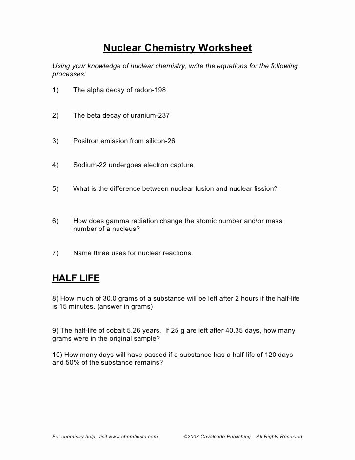 The Chemistry Of Life Worksheet Fresh Nuclear Chemistry Half Life Worksheet