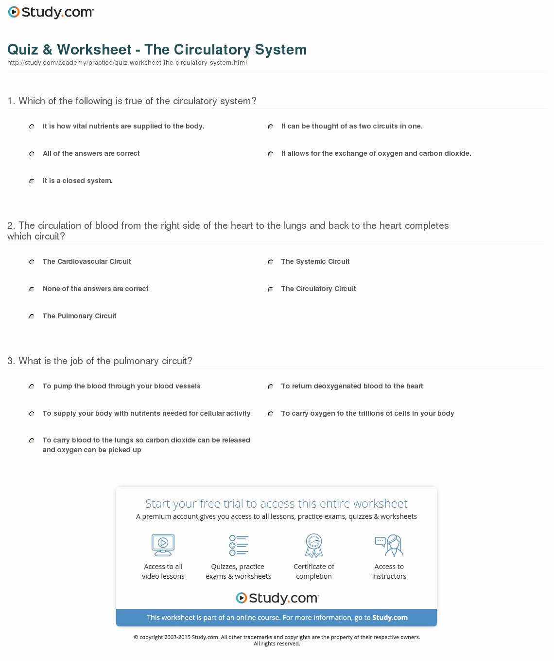 The Circulatory System Worksheet Lovely Quiz & Worksheet the Circulatory System