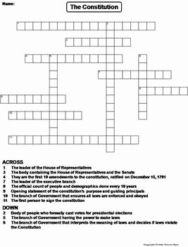 The Constitution Worksheet Answers Beautiful Us Constitution Worksheet Crossword Puzzle by Science