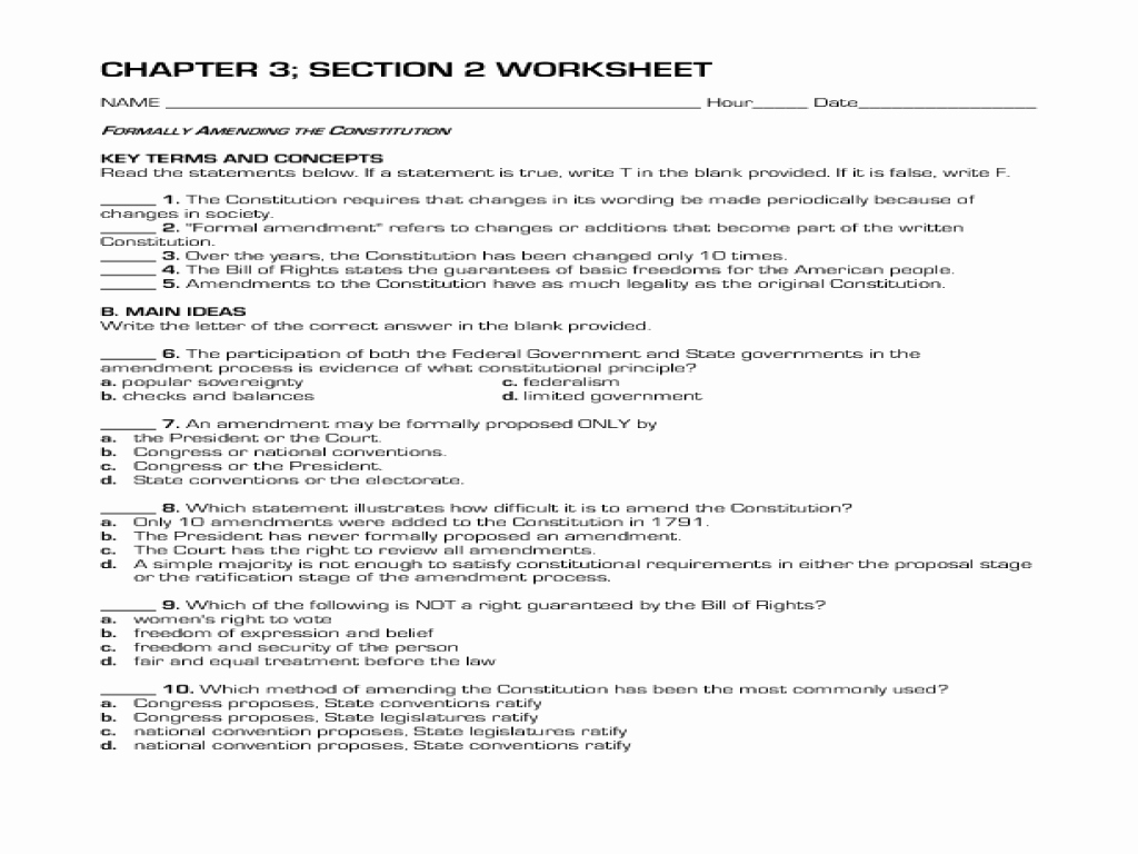 The Constitution Worksheet Answers Luxury formally Amending the Constitution Worksheet for 10th