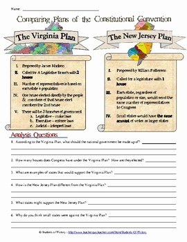 The Constitutional Convention Worksheet Elegant Paring Plans Of the Constitutional Convention by