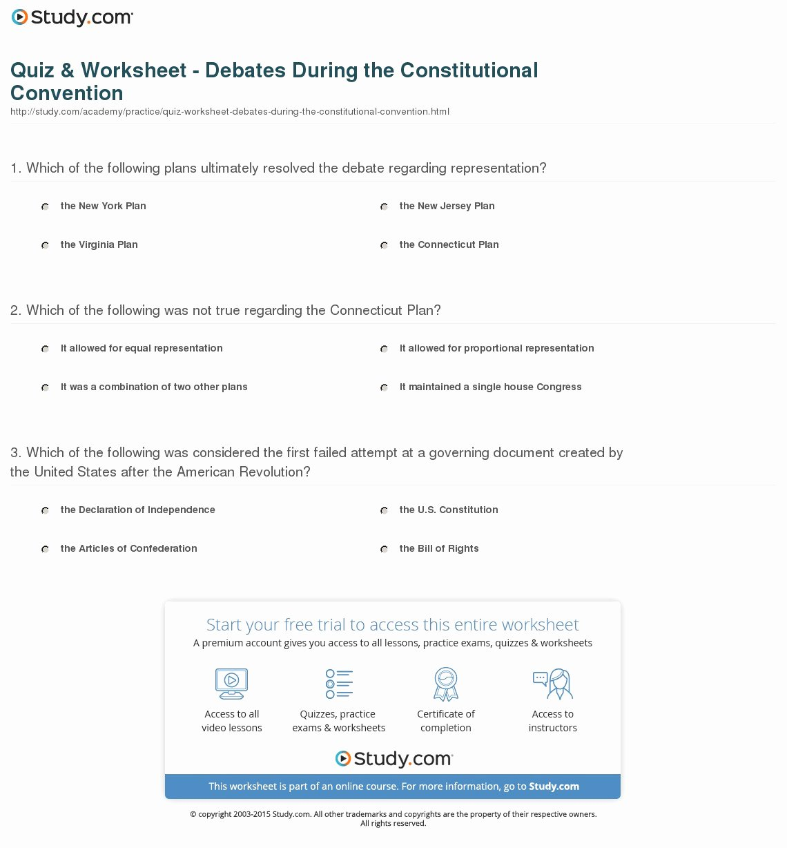 The Constitutional Convention Worksheet Elegant Quiz & Worksheet Debates During the Constitutional