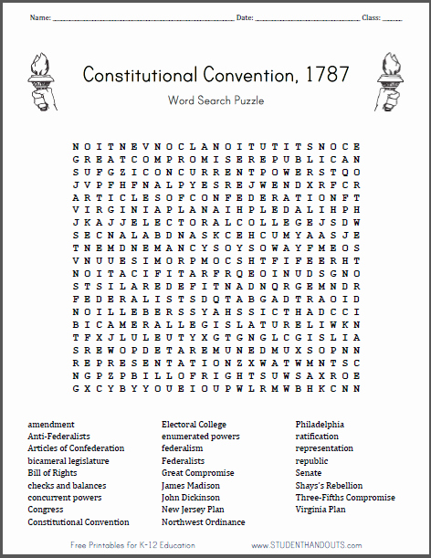 The Constitutional Convention Worksheet Inspirational Constitutional Convention Word Search Puzzle