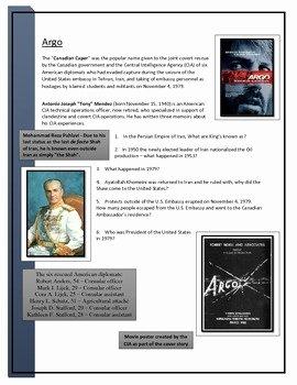 The Core Movie Worksheet Answers Beautiful Argo Movie Worksheet by Scott Harder