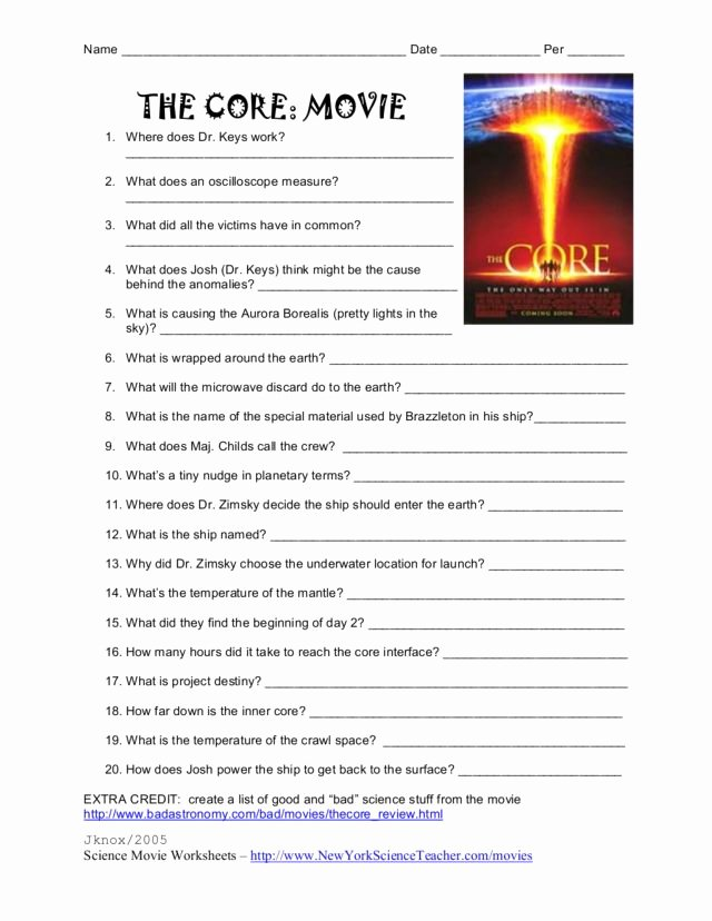 The Core Movie Worksheet Answers Beautiful the Core Movie Worksheet for 3rd 4th Grade