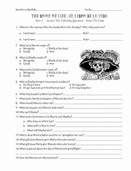The Core Movie Worksheet Answers Best Of the Book Of Life Movie Questions with Bonus Scavenger