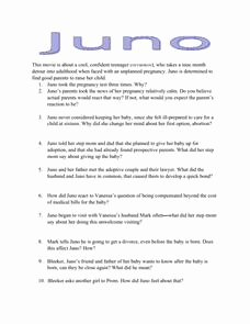 The Core Movie Worksheet Answers Elegant Juno Movie Questions 9th 12th Grade Worksheet