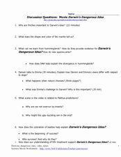 The Core Movie Worksheet Answers Fresh Discussion Questions Movie Darwin S Dangerous Idea 7th
