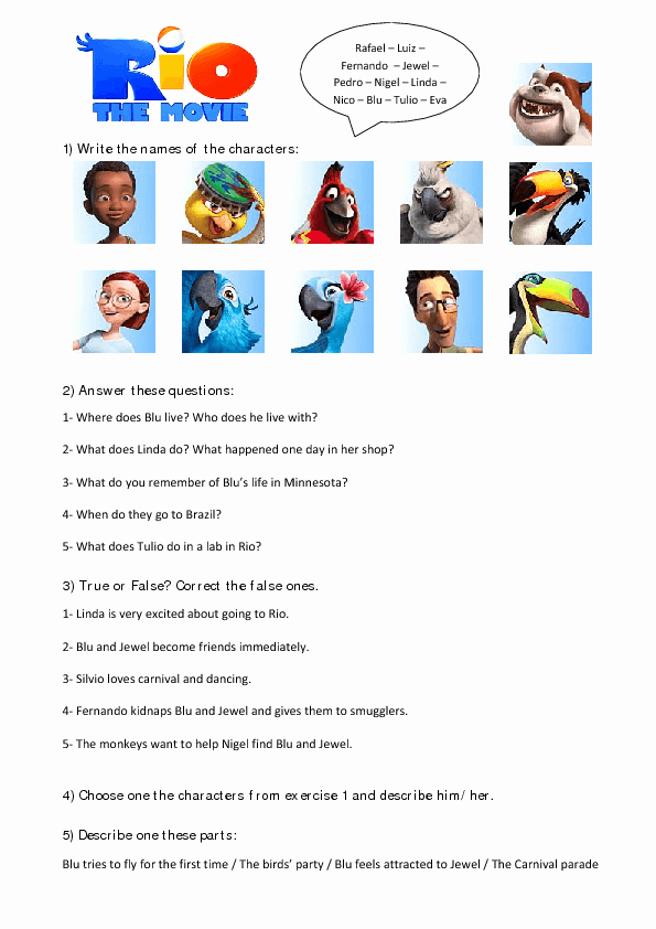 The Core Movie Worksheet Answers New Movie Worksheet Rio