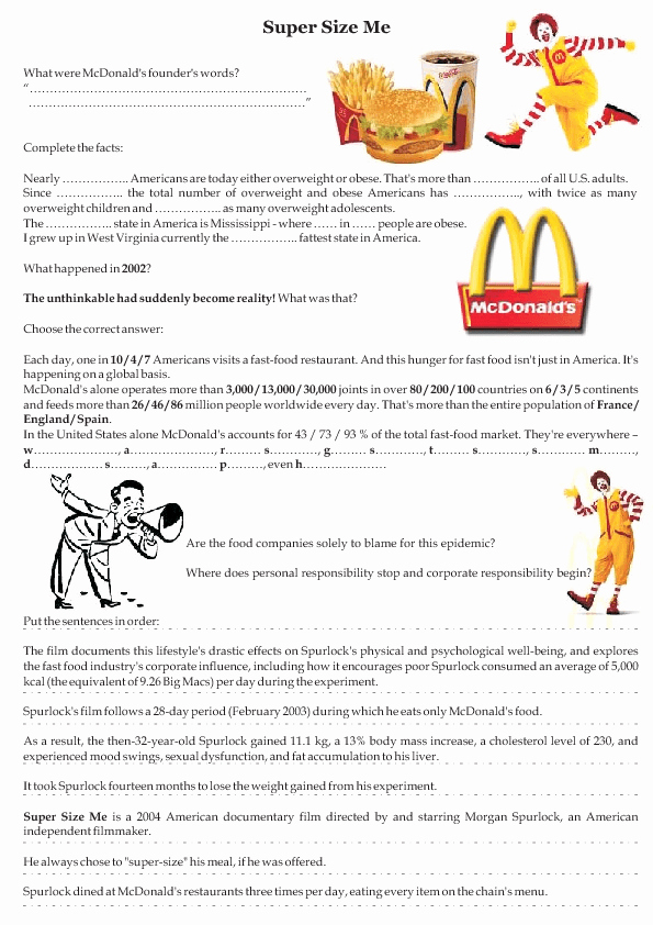 The Core Movie Worksheet Answers New Movie Worksheet Super Size Me