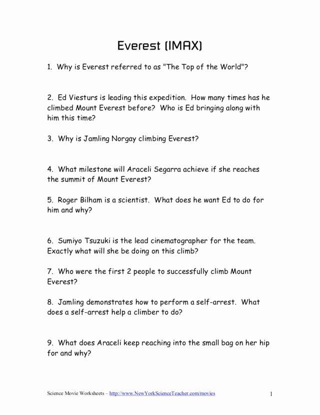 The Core Movie Worksheet Answers Unique Mount Everest Lesson Plans & Worksheets