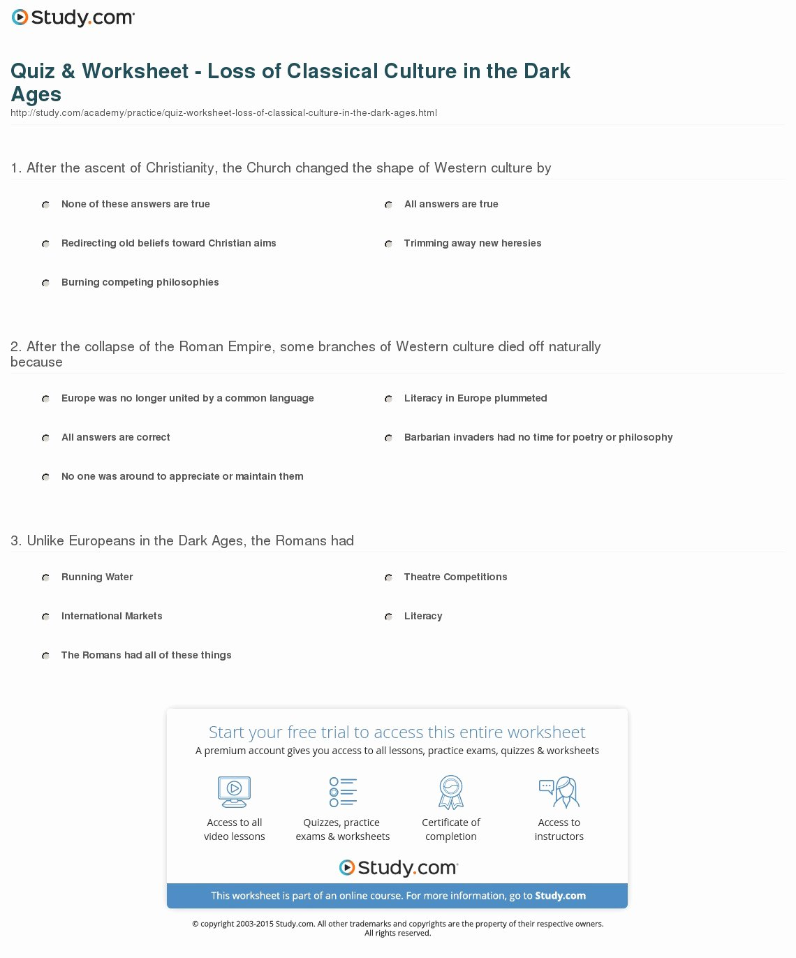 The Dark Ages Video Worksheet Beautiful Quiz & Worksheet Loss Of Classical Culture In the Dark