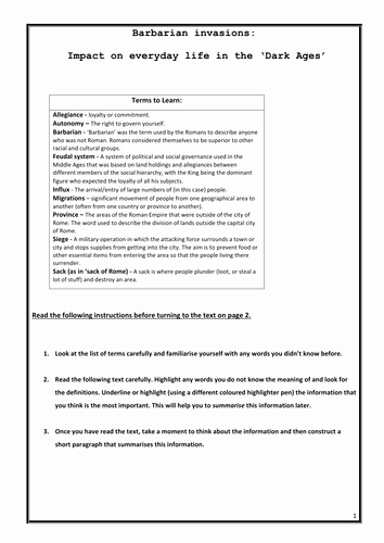 The Dark Ages Video Worksheet Fresh Elijean S Shop Teaching Resources Tes