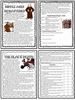 The Dark Ages Video Worksheet Lovely 12 Middle Ages Reading Prehension Bundle Me Val