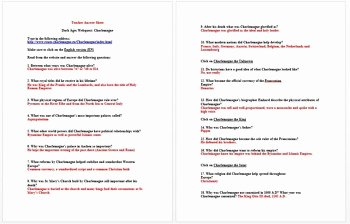 The Dark Ages Video Worksheet Lovely Dark Ages Webquest Charlemagne by History Wizard