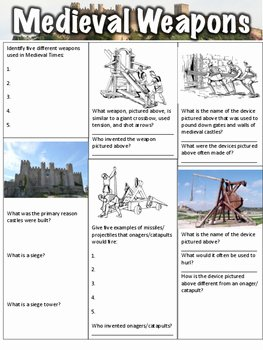 The Dark Ages Video Worksheet Unique Me Val Weapons Worksheet by Middle School History and