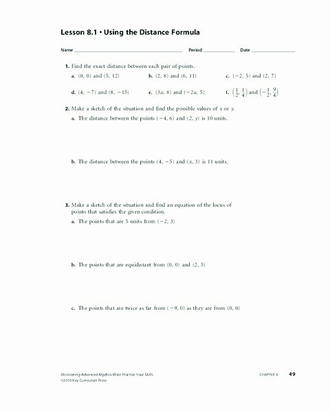 The Distance formula Worksheet Answers Best Of Using the Distance formula Worksheet for 10th 11th Grade
