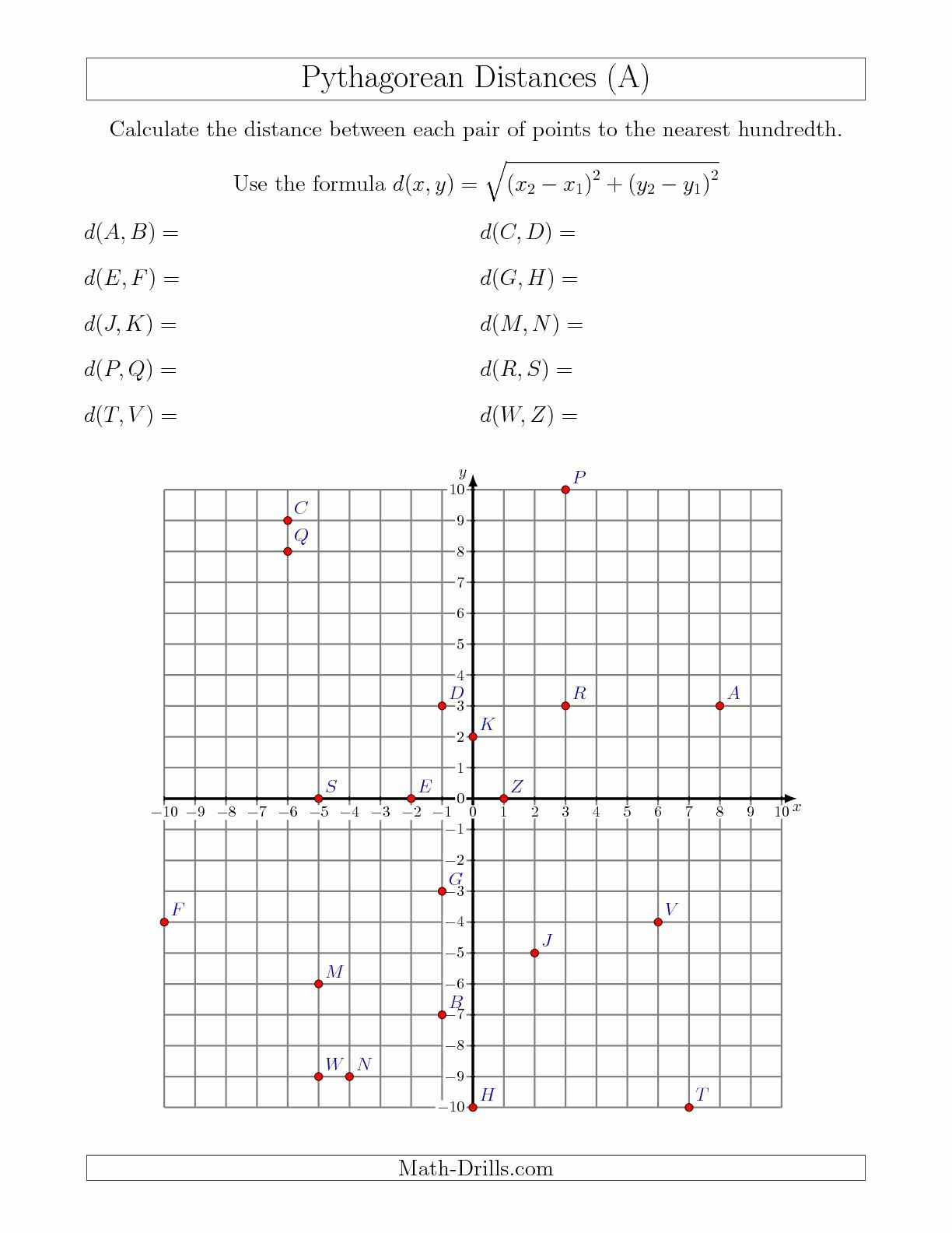 The Distance formula Worksheet Fresh Calculating the Distance Between Two Points Using