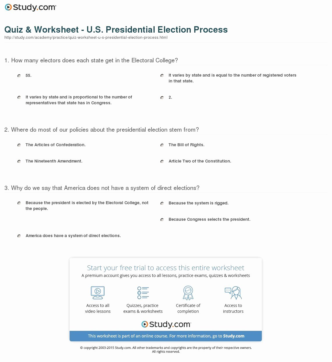 The Electoral Process Worksheet Answers Elegant the Electoral Process Worksheet