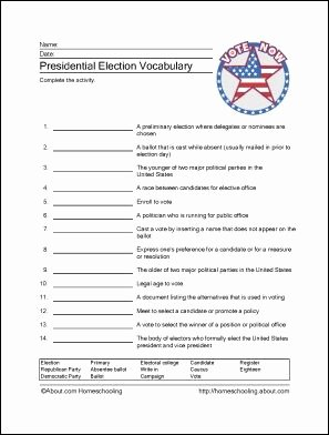 The Electoral Process Worksheet Answers Fresh Presidential Election Worksheets
