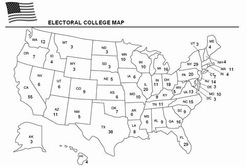 The Electoral Process Worksheet Answers Unique Education World Electoral College Map for Kids to Color