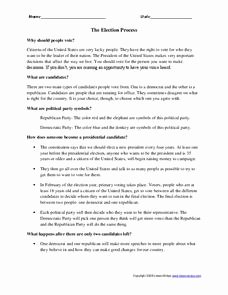 The Electoral Process Worksheet Best Of the Election Process Worksheet for 6th 8th Grade