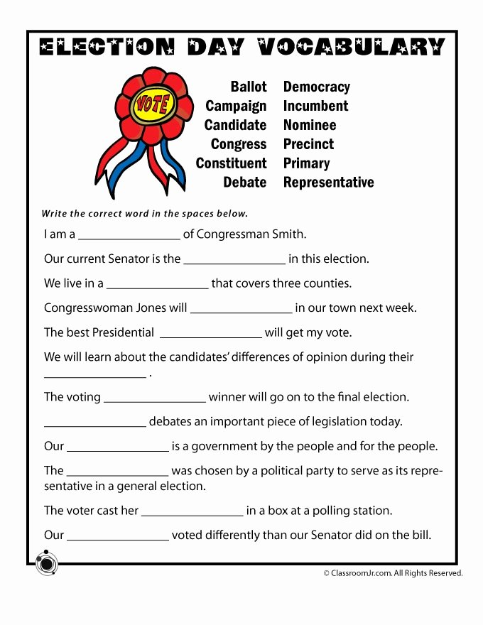 The Electoral Process Worksheet Elegant Election Day Vocabulary Worksheet Woo Jr Kids Activities