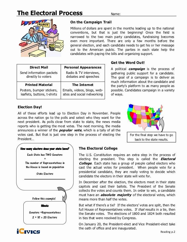 The Electoral Process Worksheet Fresh Electoral Process Icivics