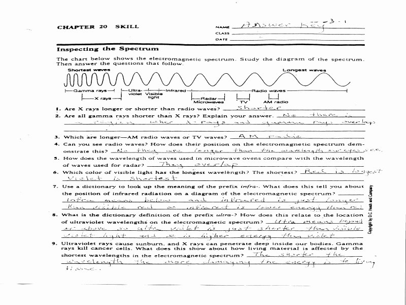 The Electromagnetic Spectrum Worksheet Answers Beautiful Waves and Electromagnetic Spectrum Worksheet the Best