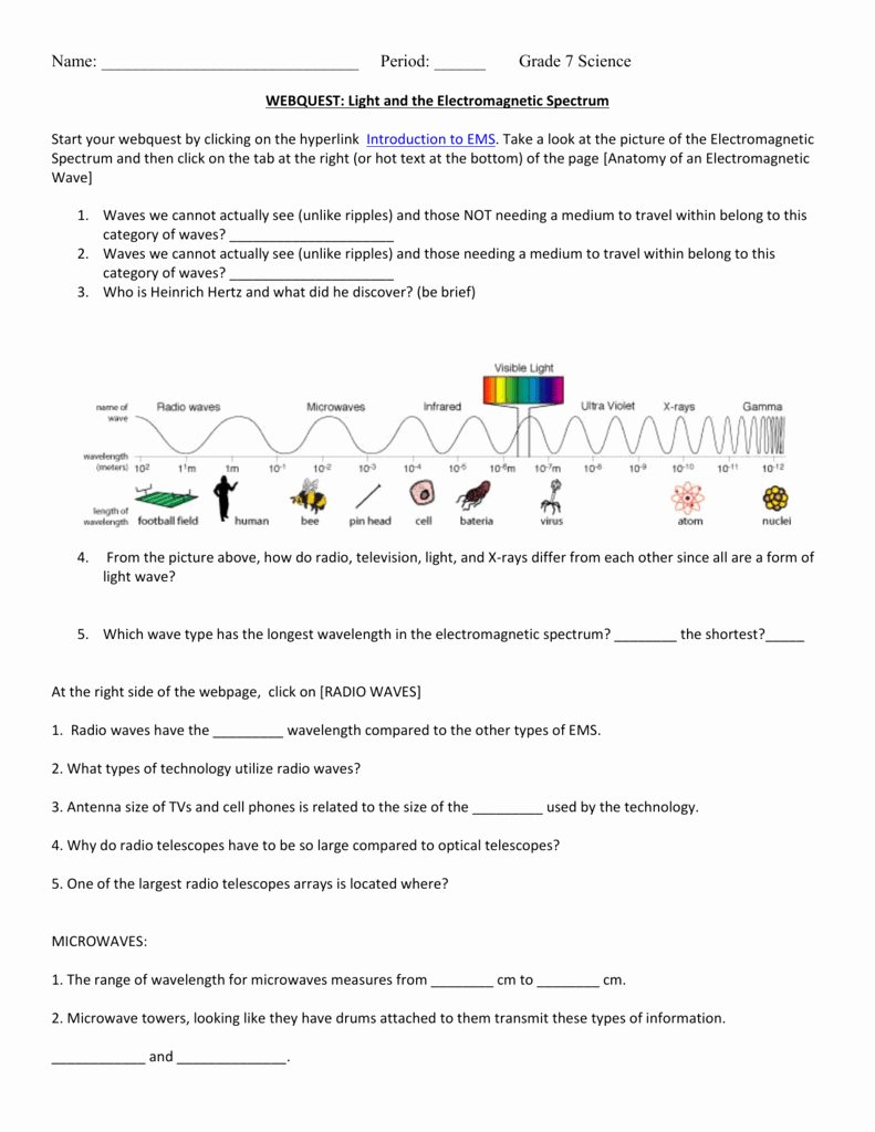The Electromagnetic Spectrum Worksheet Answers Inspirational Webquest Light and the Electromagnetic Spectrum