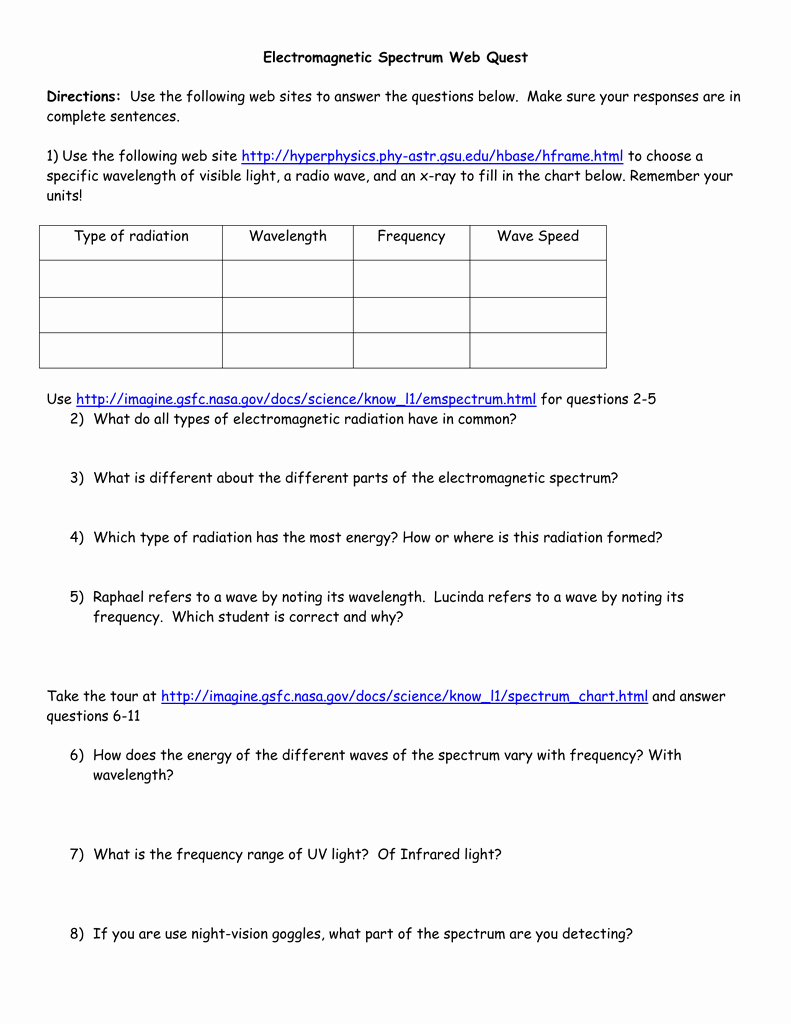The Electromagnetic Spectrum Worksheet Answers Unique Electromagnetic Spectrum Web Quest