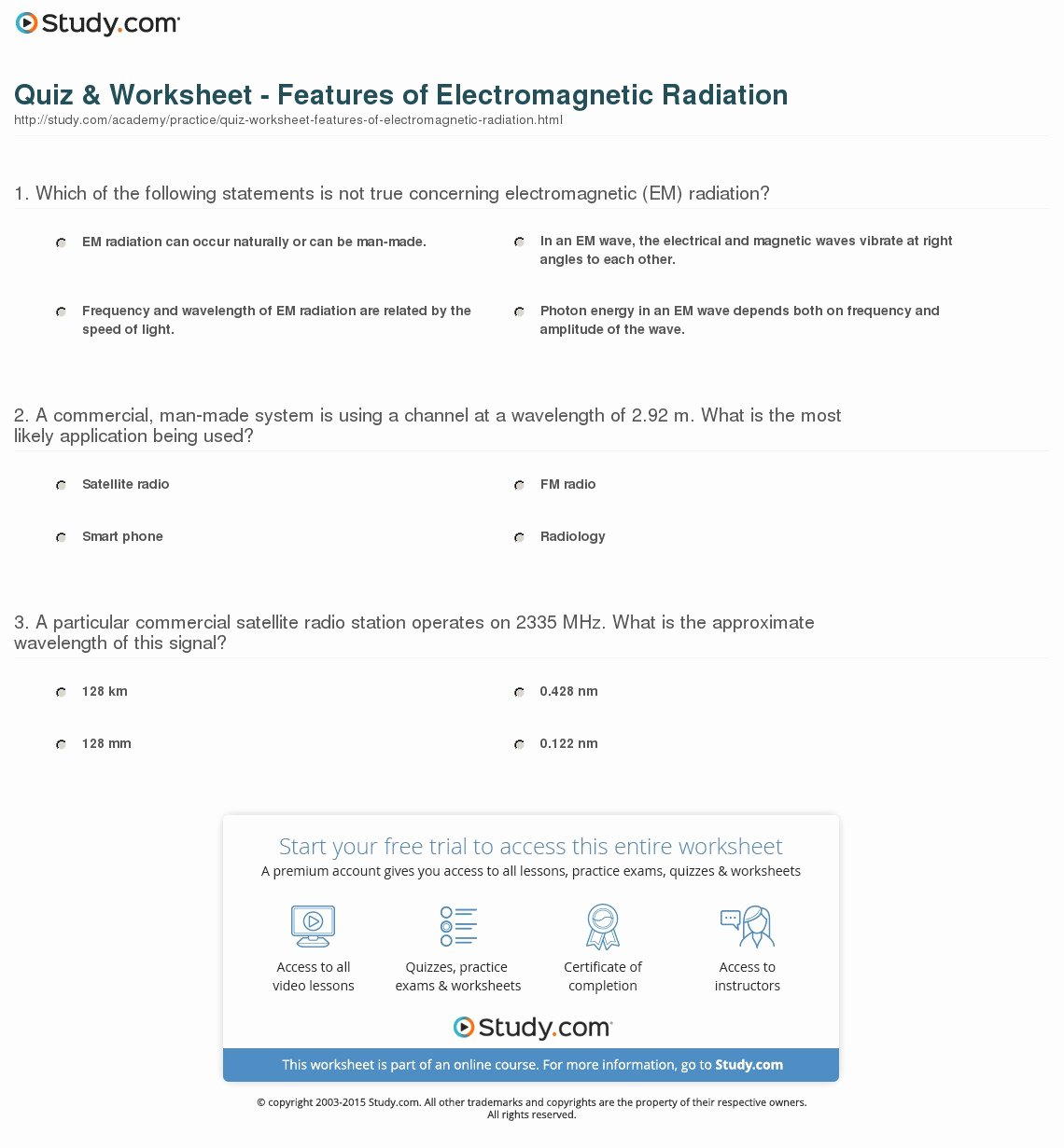 The Electromagnetic Spectrum Worksheet Awesome Quiz & Worksheet Features Of Electromagnetic Radiation