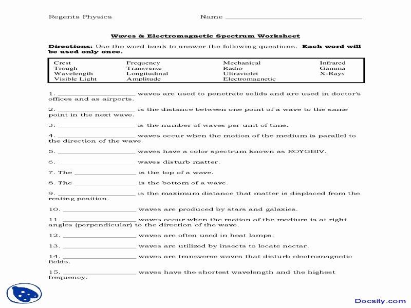 The Electromagnetic Spectrum Worksheet Beautiful Science 8 Electromagnetic Spectrum Worksheet Free