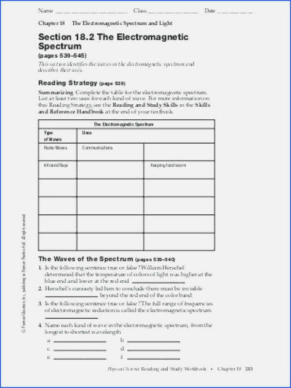 The Electromagnetic Spectrum Worksheet Luxury 23 Inspirational the Electromagnetic Spectrum Worksheet